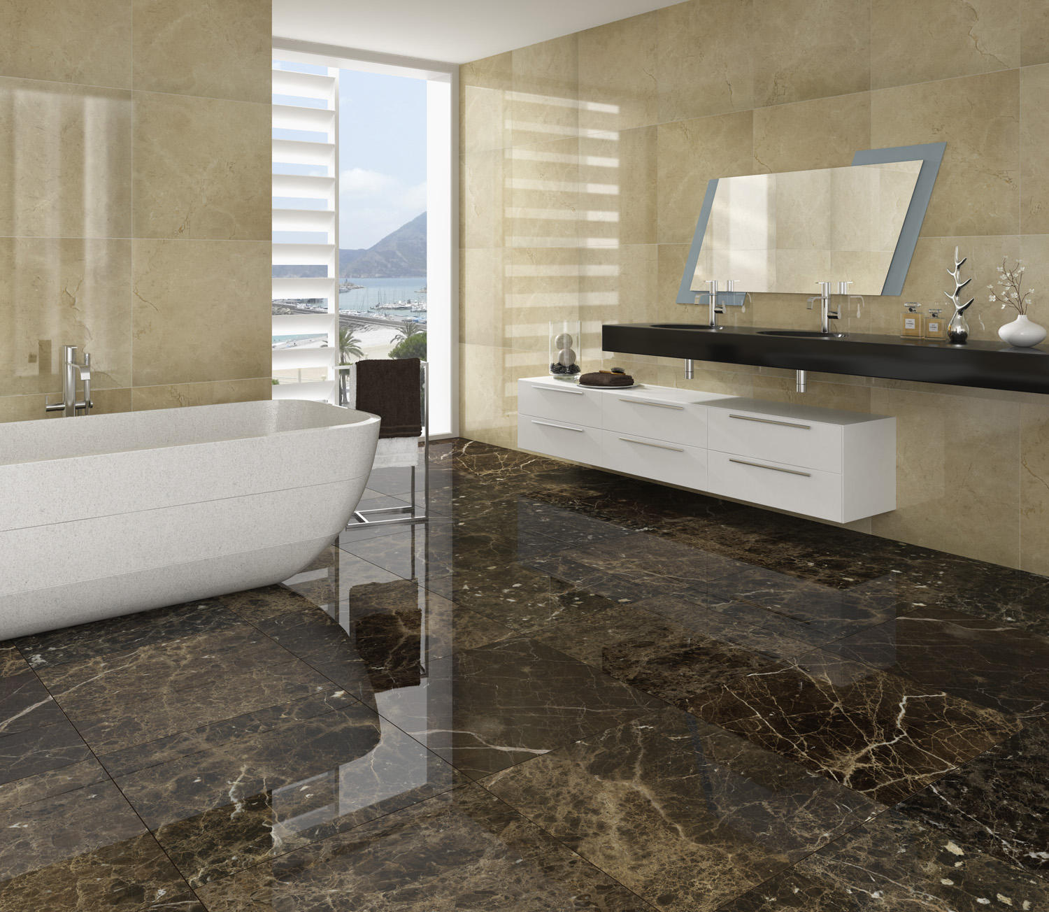 Marble brown marr n emperador natural stone panels for Carrelage salle de bain imitation marbre