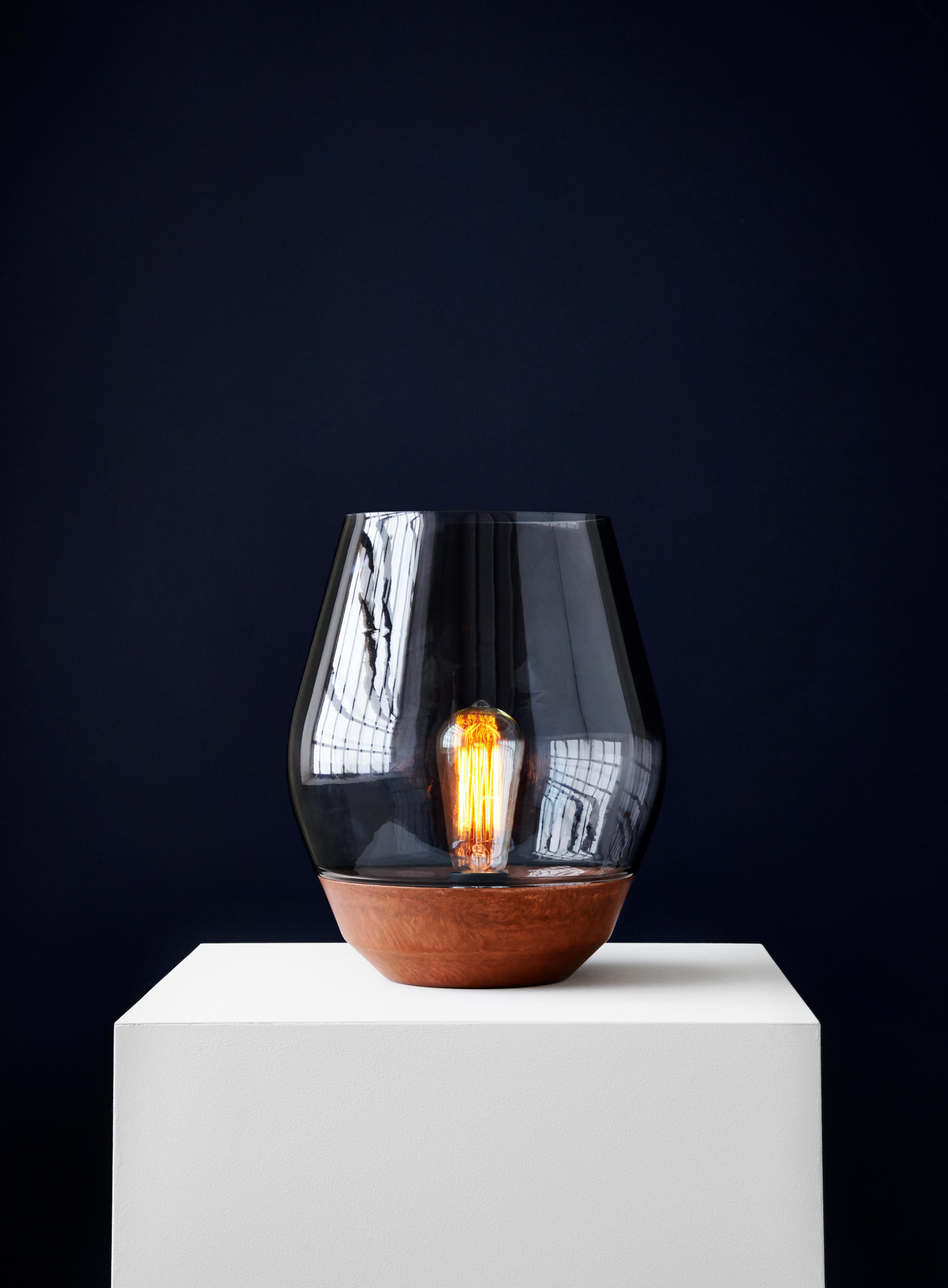 Bowl Table Lamp Raw Copper W Light Smoked Glass Table Lights From New Works Architonic