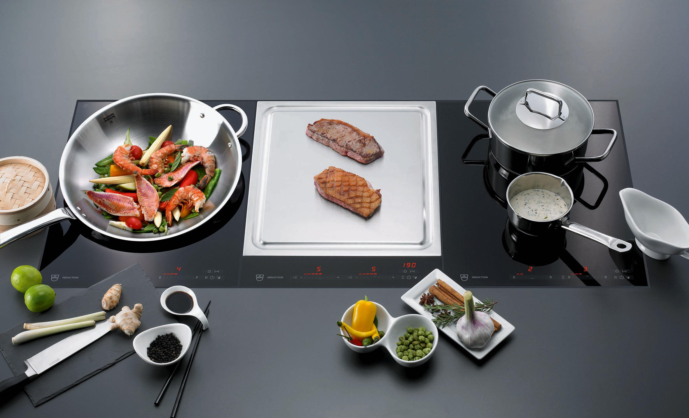 induction wok gk16tiws 1f slider hobs from v zug. Black Bedroom Furniture Sets. Home Design Ideas