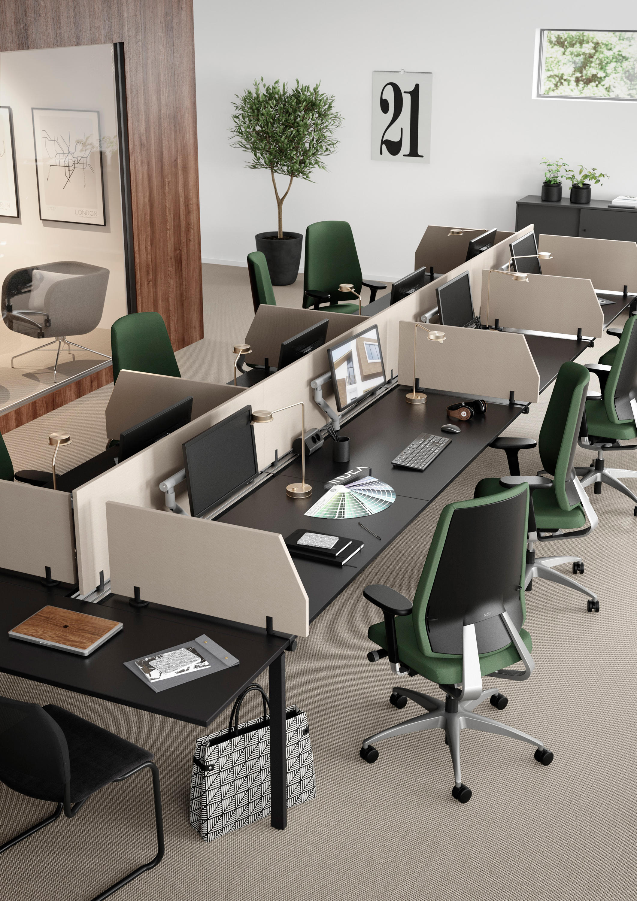 Nexus desking systems from kinnarps architonic for Center table design for office