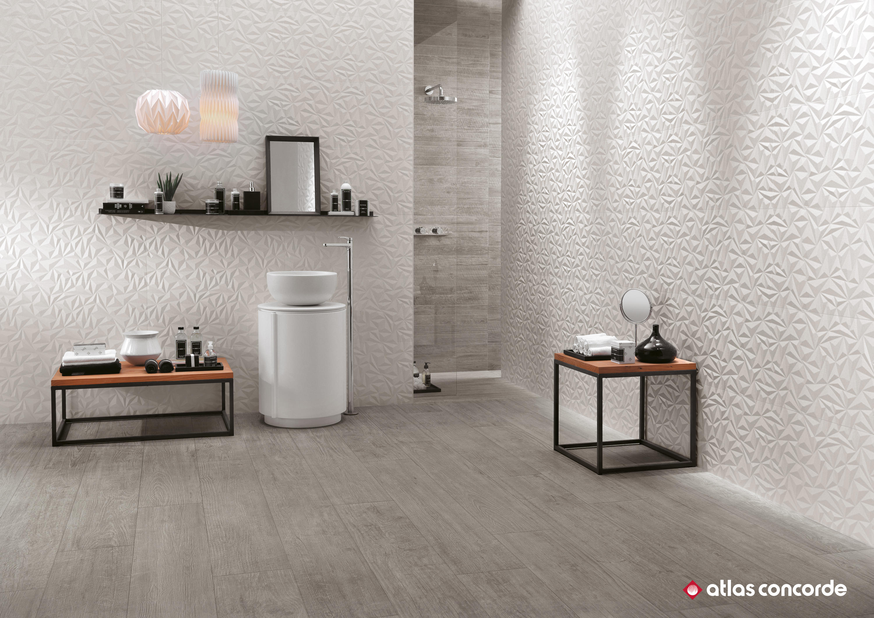 3d wall diamond white wall tiles by atlas concorde. Black Bedroom Furniture Sets. Home Design Ideas
