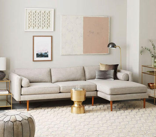 Monroe Mid-Century 2-Piece Chaise Sectional by Distributed by Williams-Sonoma : 2 piece chaise sectional - Sectionals, Sofas & Couches