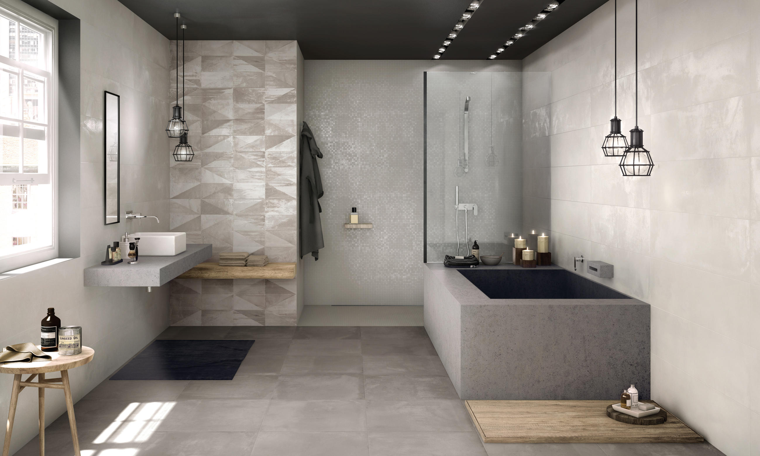 Crea ash ceramic tiles from ariana ceramica architonic - Duschwand fugenlos ...