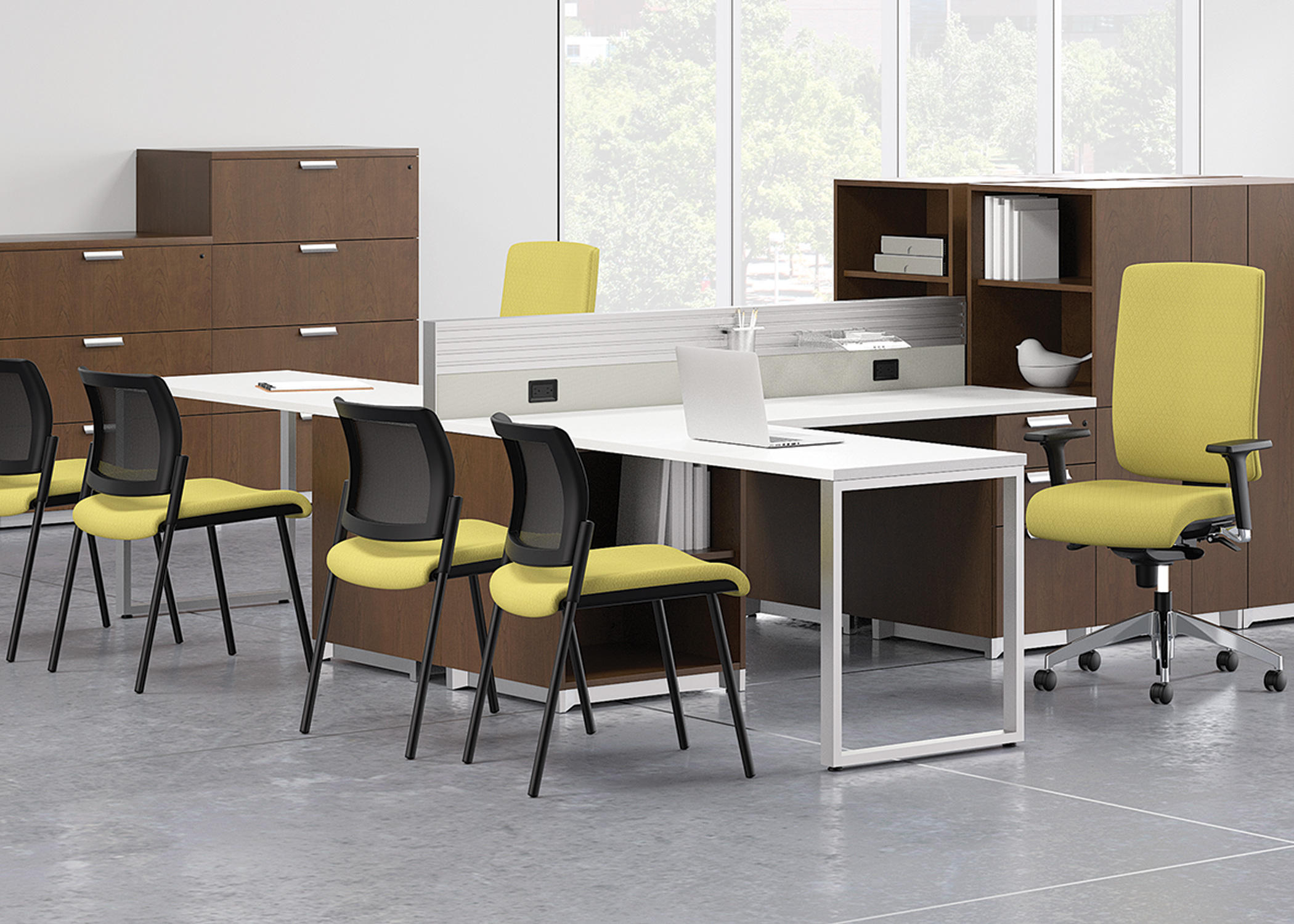 Epicenter partitions and desk systems power for Furniture nation