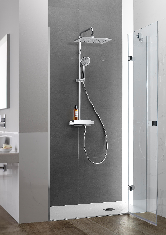 Deck shower column shower taps mixers from roca for Duchas roca