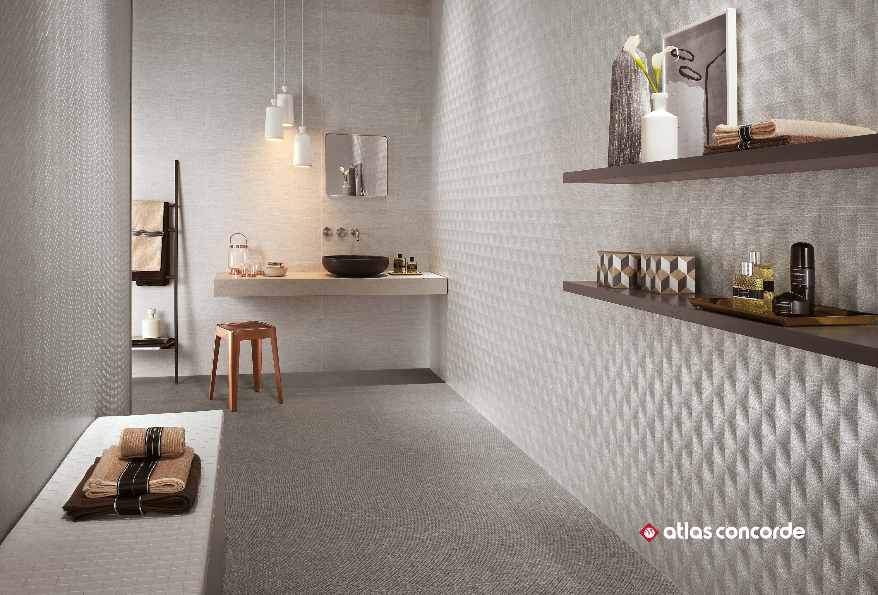 Room cord mosaico ceramic panels from atlas concorde for Catalogue carrelage point p