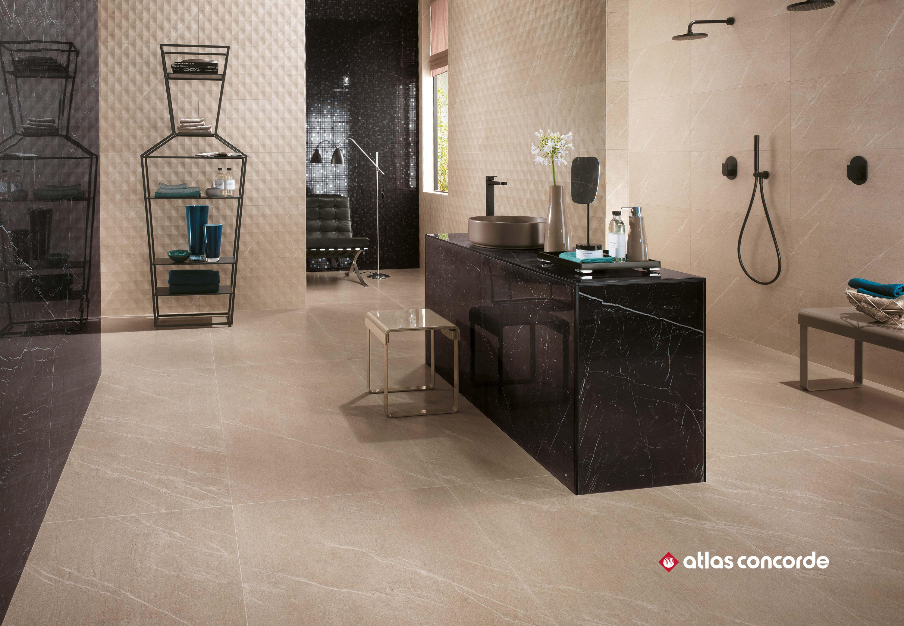 Marvel stone basaltina brick ceramic panels from atlas for Carrelage 40x80
