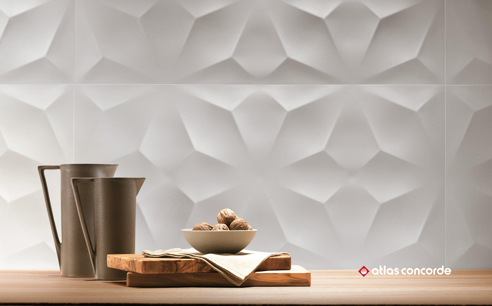 3d Wall Diamond White Ceramic Tiles From Atlas Concorde
