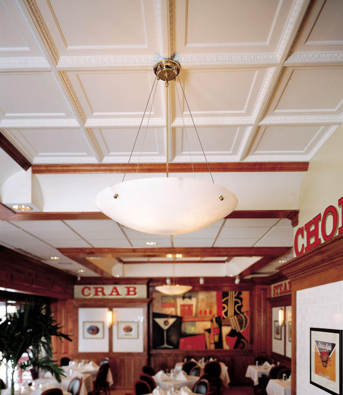 Coffered Egg Dart Ceiling Tile Mineral Composite Panels From