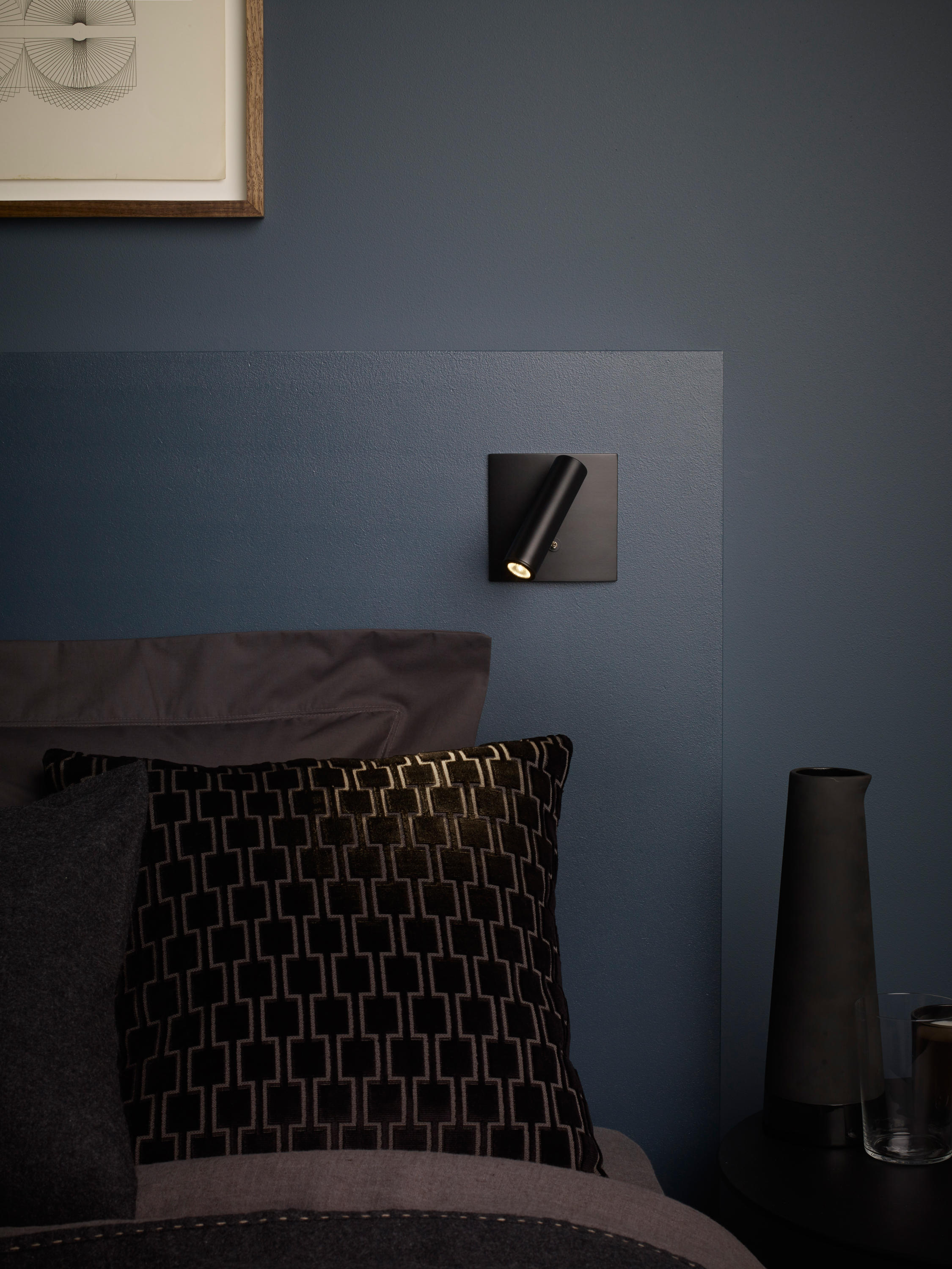 Enna Led Square Switched Black Wall Lights From Astro