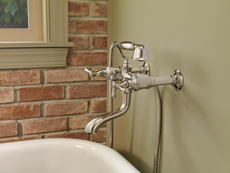 Two Handle Floor Mount Freestanding Tub Filler With Cross