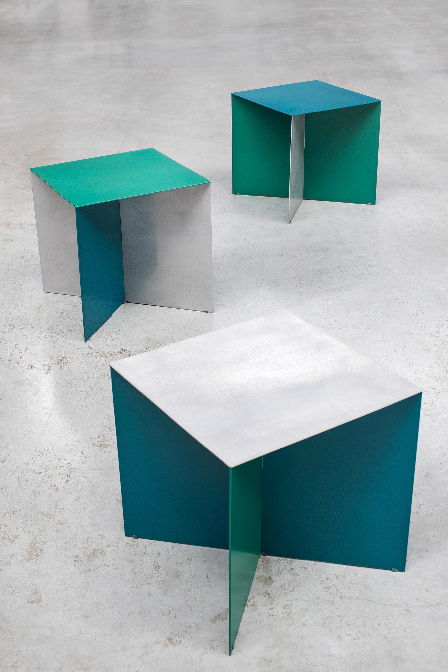 Alu Square Aluminum Top Side Tables From Valerie