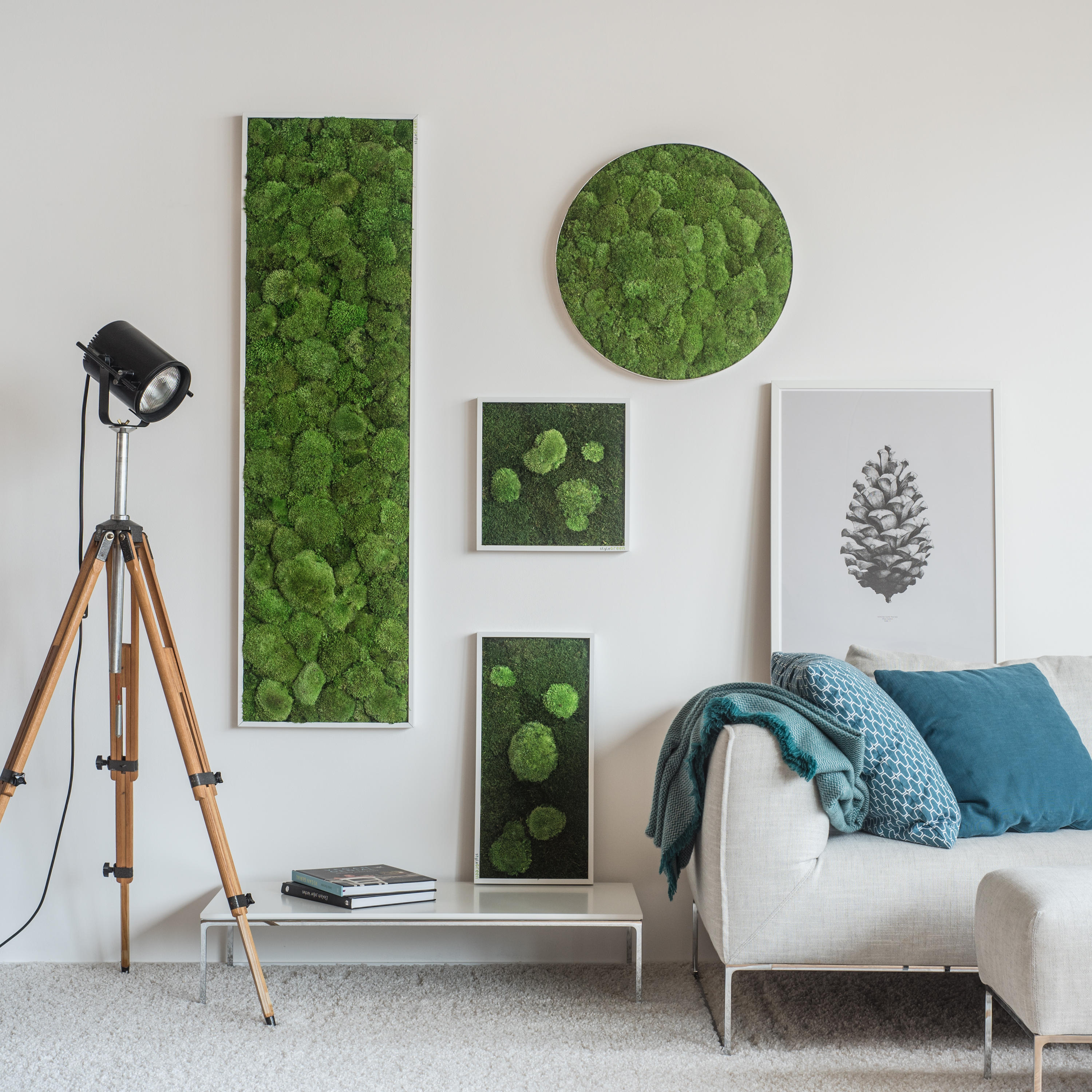 Moss picture pole and forest moss picture 80x80cm wall for Style green