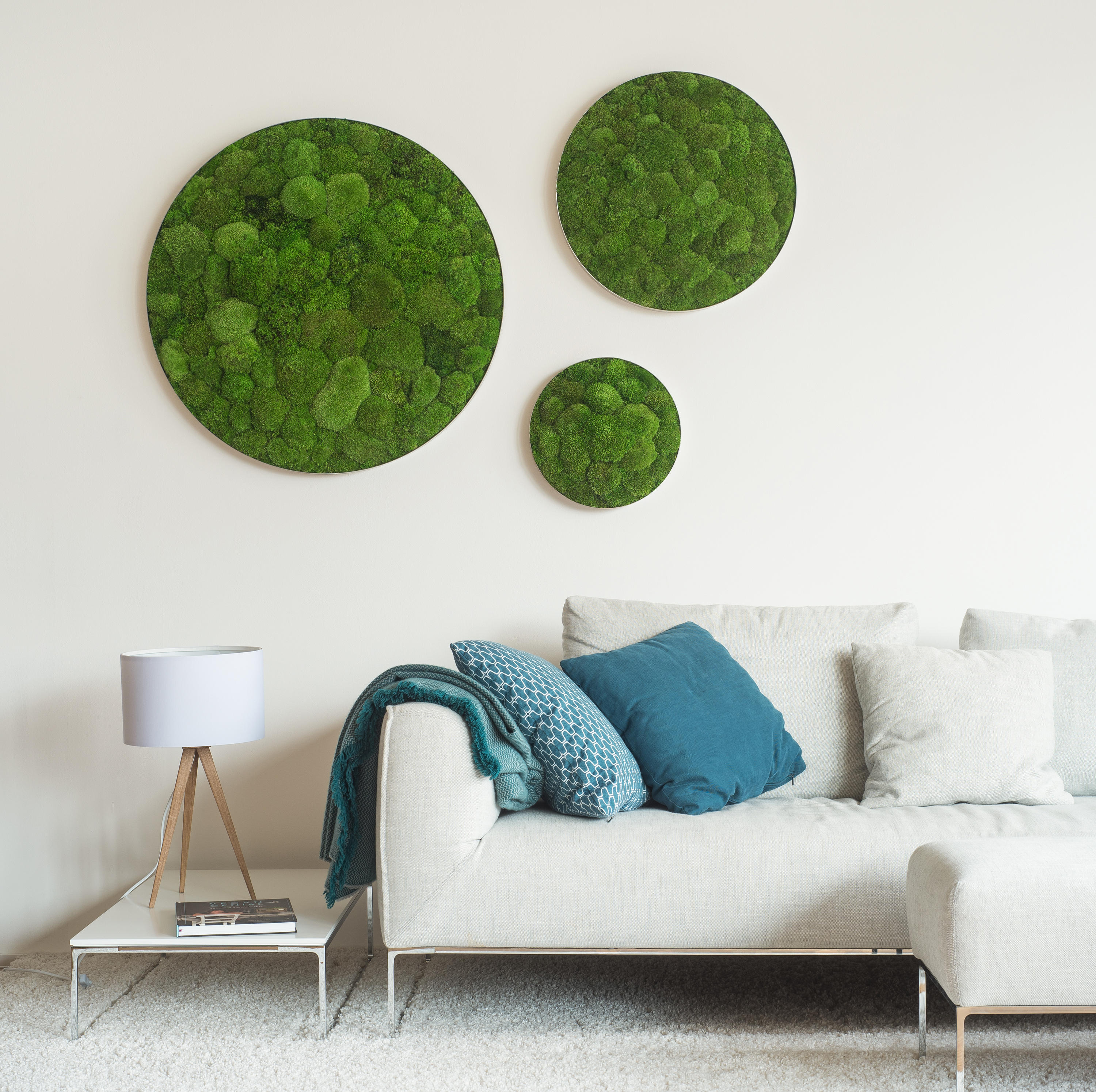 Circle forest and pole moss 54cm wall decoration from for Style green