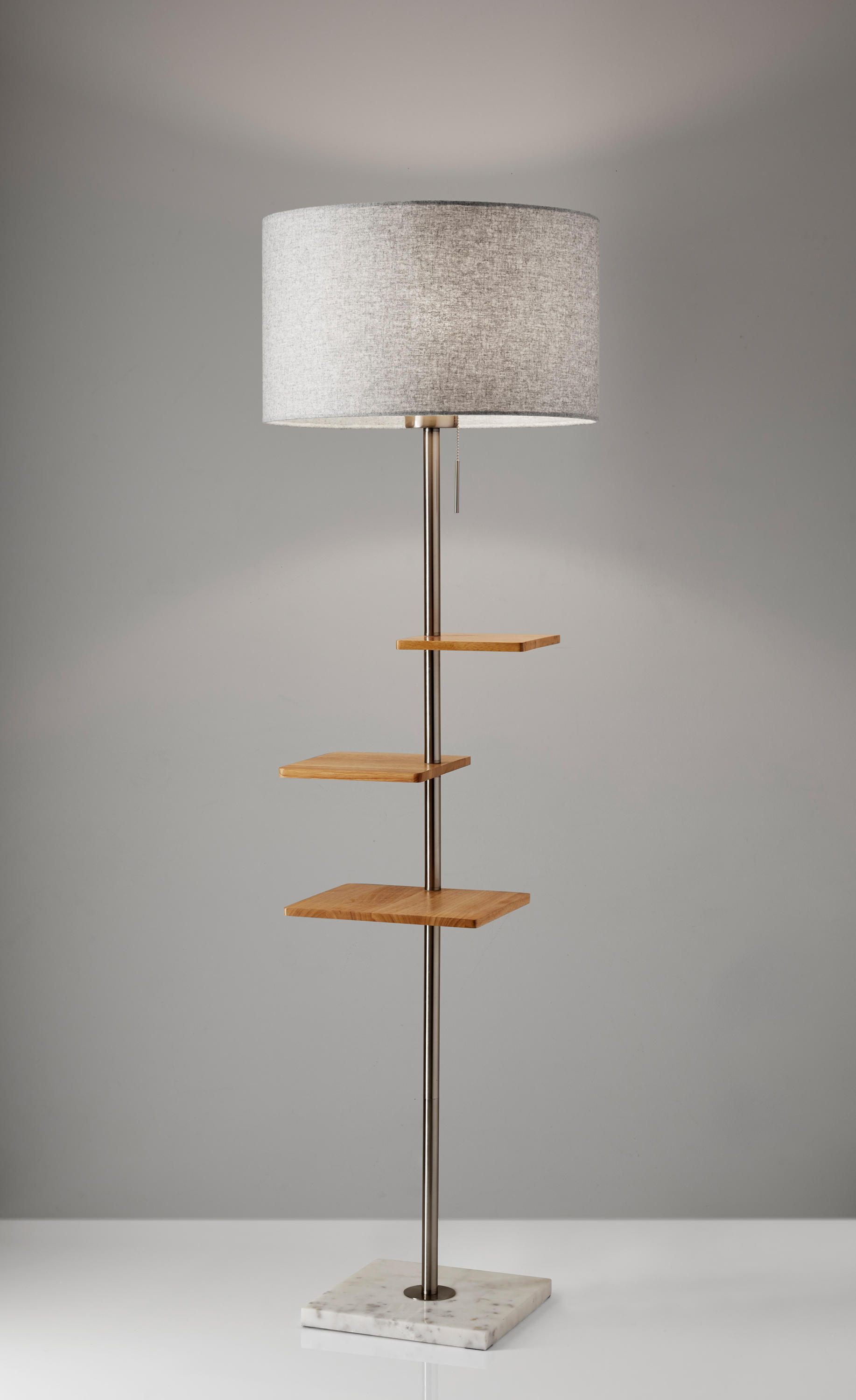 the steel shelf glass stainless shelves lamp in home adesso lamps with p floor