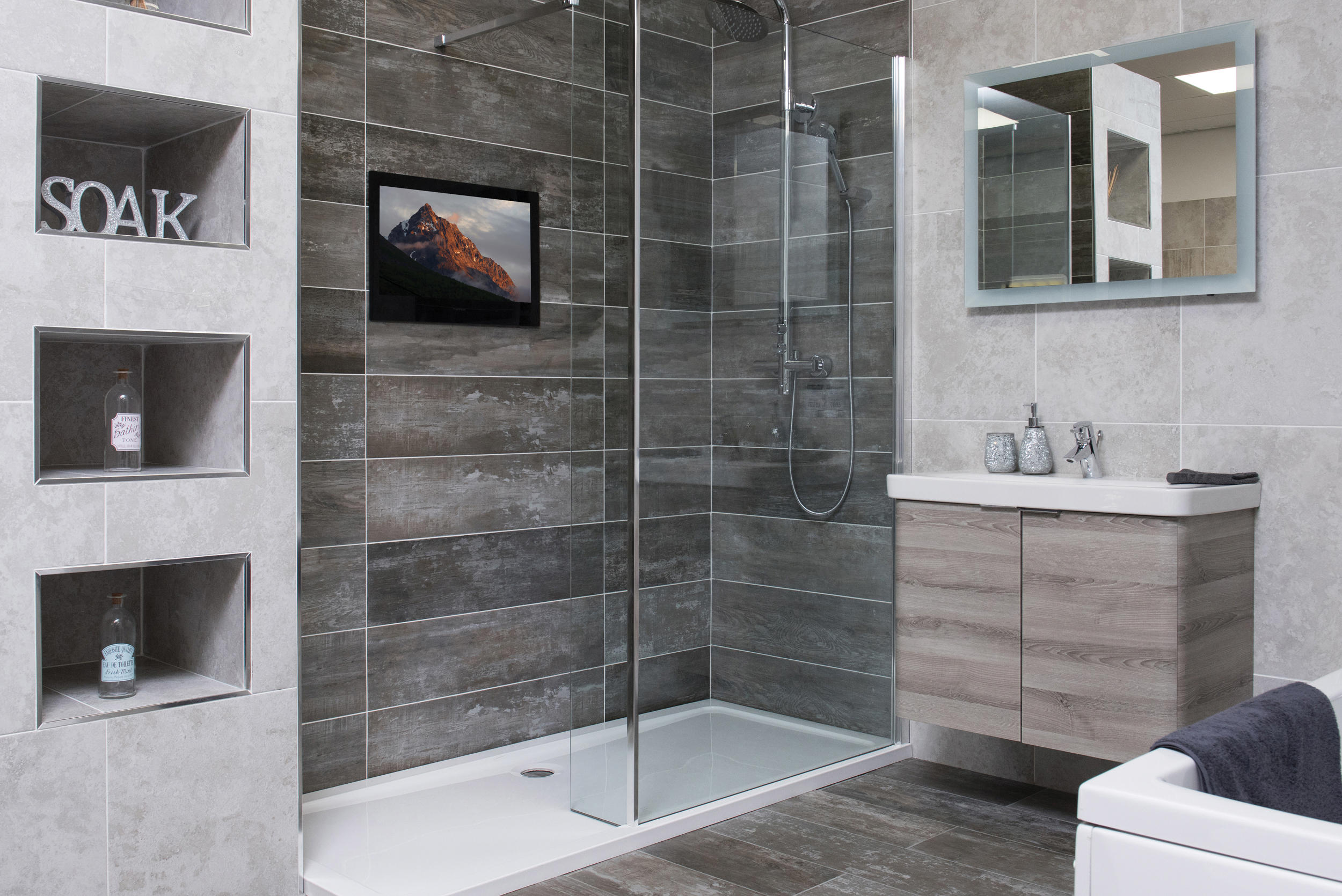 Image result for bathroom TV mirror