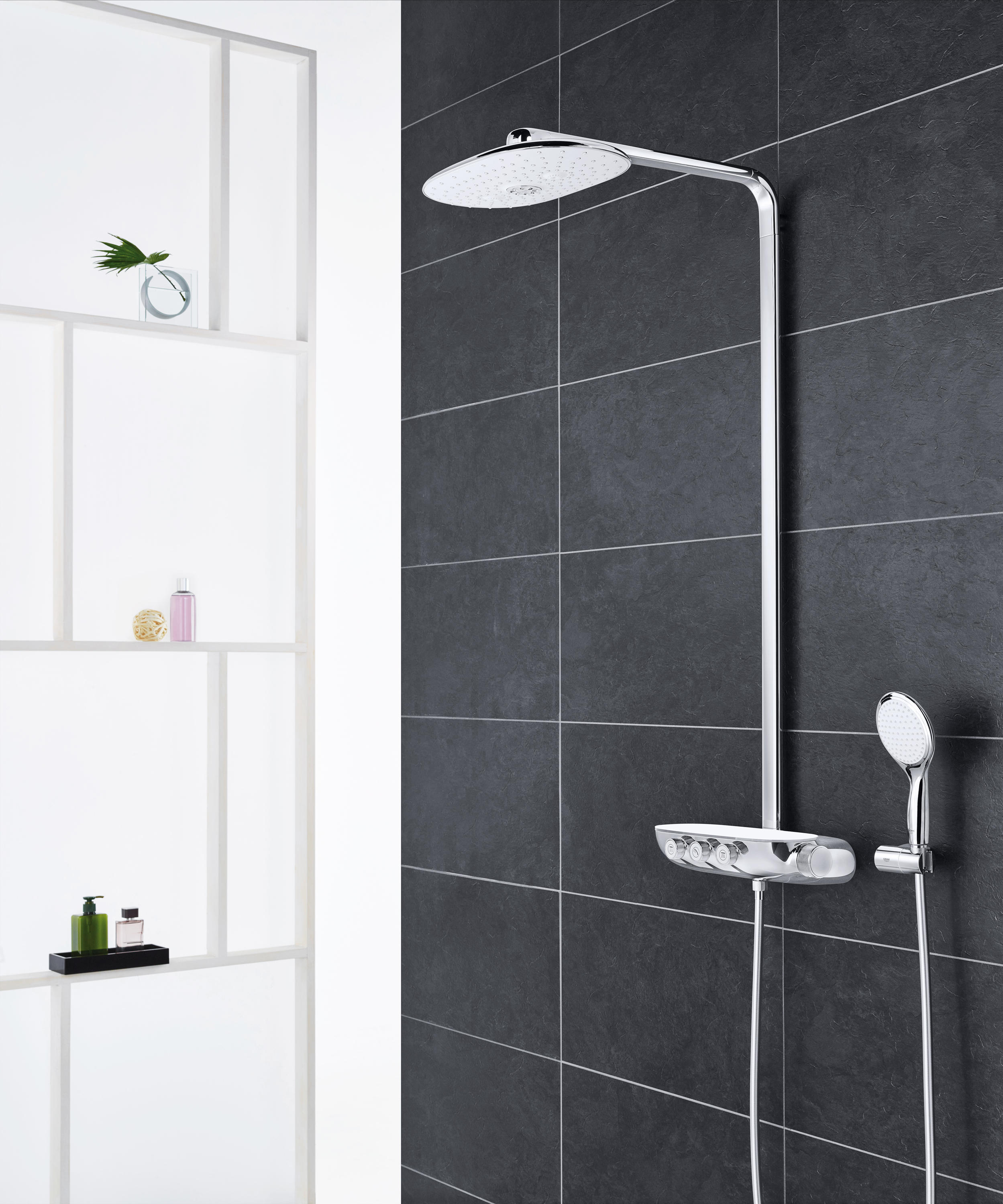 grohtherm smartcontrol perfect shower set with rainshower. Black Bedroom Furniture Sets. Home Design Ideas