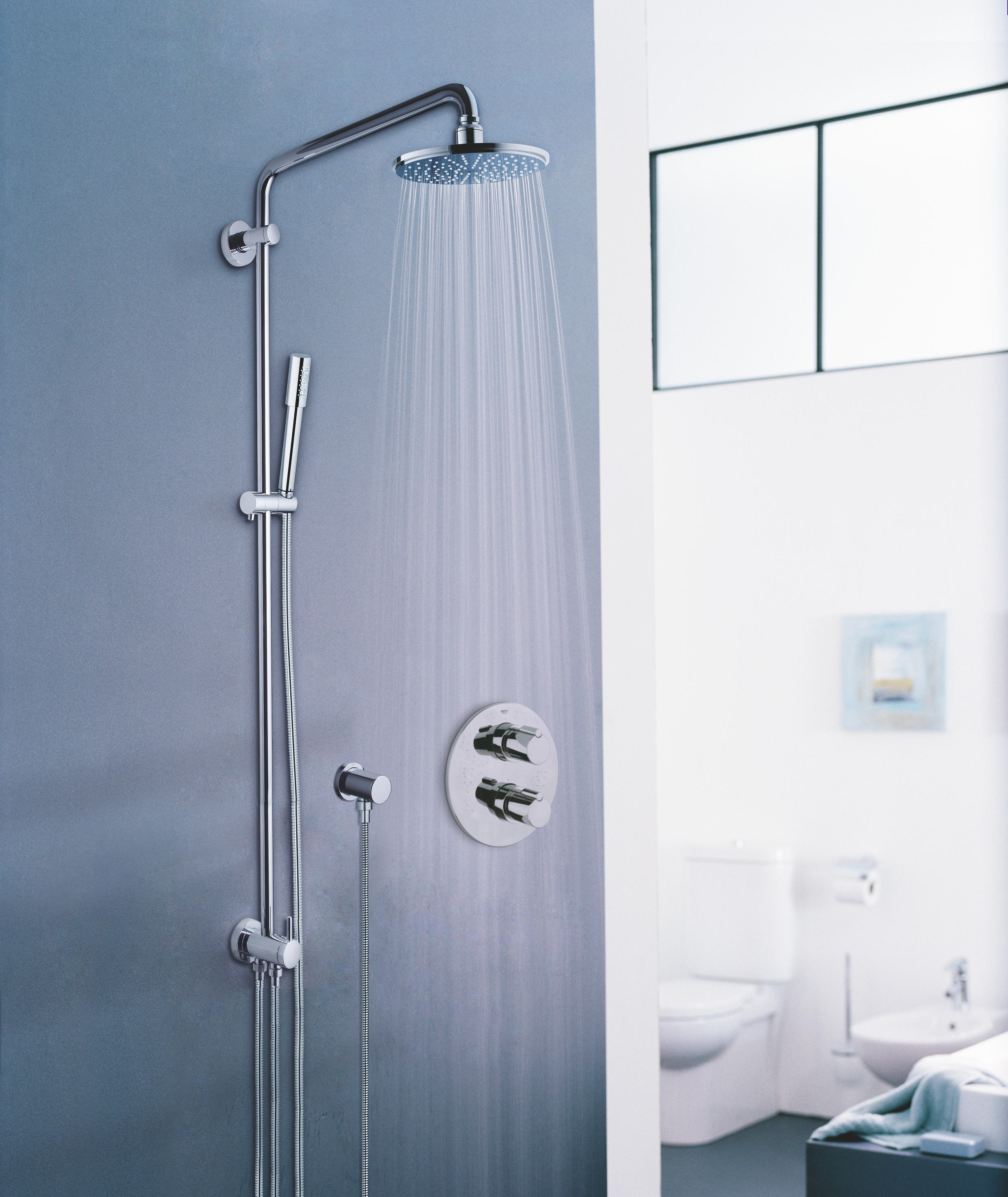 grohe system mit rainshower thermostatbatterie f pin r duschsystem shower wandmontage