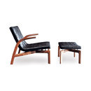 Armchairs-Lounge chairs with footstools-Seating-Pasmore Armchair I Pouf-Minotti