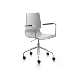 Ricciolina swivel base with armrests with wheels and gas lift polypropylene | Arbeitsdrehstühle | Maxdesign
