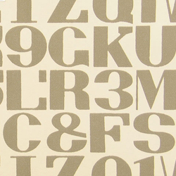 Alphabet 003 Raw Umber On White | Wandtextilien | Maharam