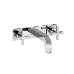 AXOR Citterio 3-Hole Basin Mixer for concealed installation with cross handles plate and spout 226mm DN15 wall mounting | Wash-basin taps | AXOR