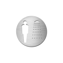 Pictograms round | stainless steel | Gentlemen's shower | Cartelli segnaletici per ambienti | Serafini