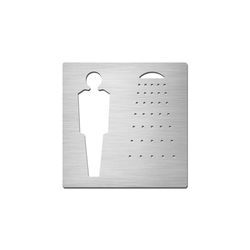 Pictograms square | stainless steel | Gentlemen's shower | Cartelli segnaletici per ambienti | Serafini