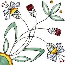 Fiore Stilizzato 20x20 | Carrelage mural | Giovanni De Maio
