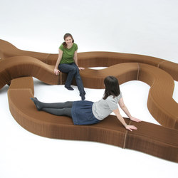softseating | natural brown paper serpentine bench | Waiting area benches | molo