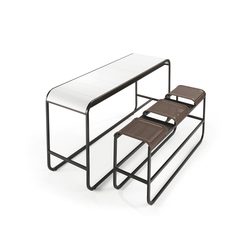 Tandem High Bench & Table | Sgabelli bar da giardino | EGO Paris