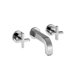 AXOR Citterio 3-Hole Basin Mixer for concealed installation with cross handles escutcheons and spout 162mm DN15 wall mounting | Wash-basin taps | AXOR