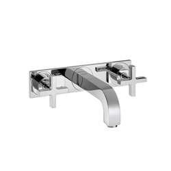 AXOR Citterio 3-Hole Basin Mixer for concealed installation with cross handles plate and spout 166mm DN15 wall mounting | Wash basin taps | AXOR