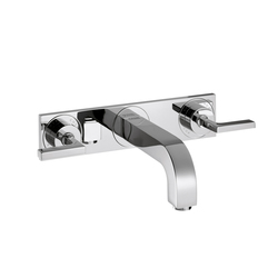 AXOR Citterio 3-Hole Basin Mixer for concealed installation with lever handles, plate and spout 166mm DN15, wall mounting | Wash basin taps | AXOR