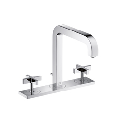 AXOR Citterio 3-Hole Basin Mixer with cross handles plate and spout 205mm DN15 | Wash basin taps | AXOR