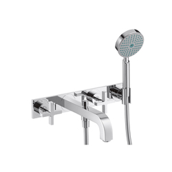 AXOR Citterio 3-Hole Bath Mixer with cross handles and plate DN15 | Bath taps | AXOR