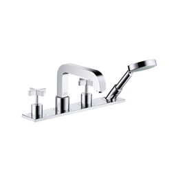AXOR Citterio 4-Hole Rim-Mounted Bath Mixer with cross handles and plate DN15 | Bath taps | AXOR