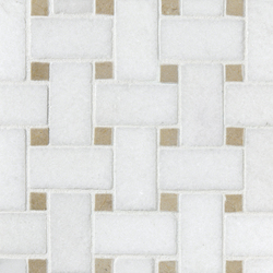 Basketweave Thassos & Crema Marfil Dot | Mosaïques en pierre naturelle | Complete Tile Collection