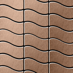 Flux Titanium Amber Brushed Tiles | Mosaicos | Alloy