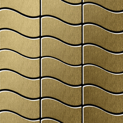 Flux Titanium Gold Brushed Tiles | Metallmosaike | Alloy