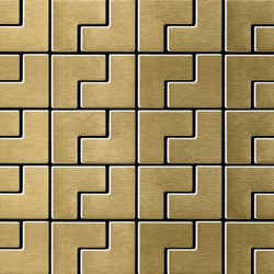 Kink Titanium Gold Brushed Tiles | Mosaicos | Alloy