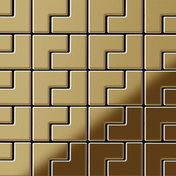 Kink Titanium Gold Mirror Tiles | Mosaicos | Alloy