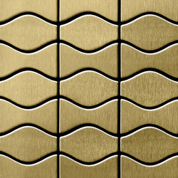 Kismet & Karma Titanium Gold Brushed Tiles | Mosaici metallo | Alloy