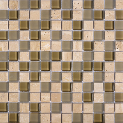 Noohn Stone Glass Mosaics Mix Travertino Tobacco | Mosaïques verre | Porcelanosa