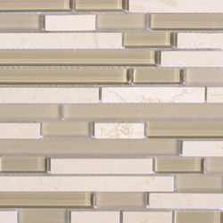Noohn Stone Glass Mosaics Strip Mix Glacier Crema | Mosaïques verre | Porcelanosa
