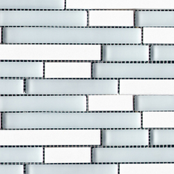 Noohn Stone Glass Mosaics Strip Mix Glacier Thassos | Mosaïques verre | Porcelanosa