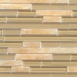 Noohn Stone Glass Mosaics Strip Mix Onix Glacier Honey | Mosaicos | Porcelanosa