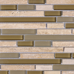 Noohn Stone Glass Mosaics Strip Mix Travertino Tobacco | Mosaici | Porcelanosa