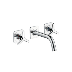 AXOR Citterio M 3-Hole Basin Mixer for concealed installation with star handles, escutcheons and spout 166mm DN15 wall mounting | Wash basin taps | AXOR