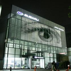 powerglass® media façade : SUBARU | Revestimientos de fachada | Peter Platz Spezialglas